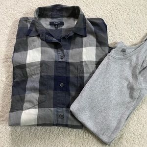 Madewell softest cotton plaid shirt M blue/gray